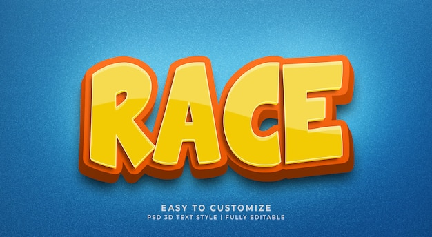 Maqueta de efecto de estilo de texto 3d de raza