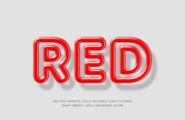 Maqueta de efecto de estilo de texto 3d rojo