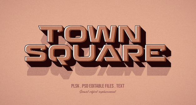 Maqueta de efecto de estilo de texto 3d de town square