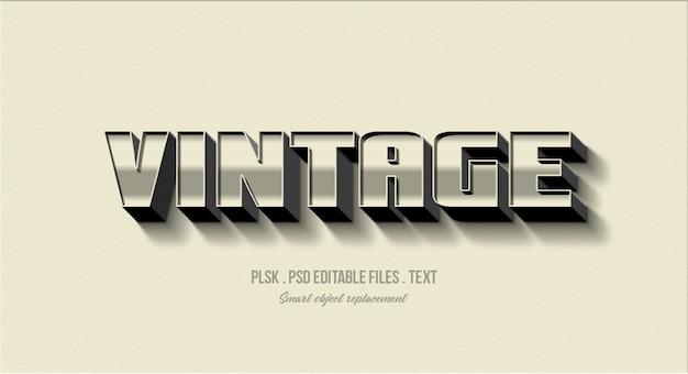 Maqueta de efecto de estilo de texto 3d vintage