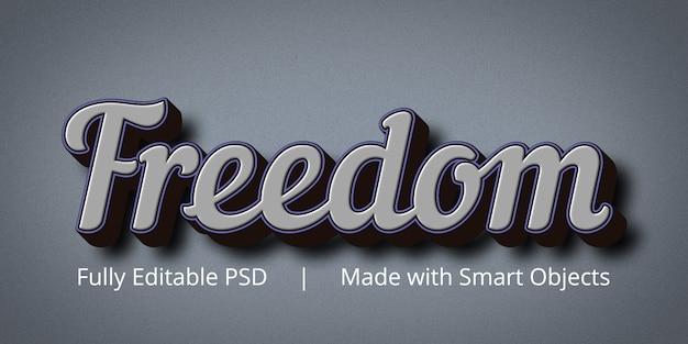 Maqueta de efecto de estilo de texto editable freedom