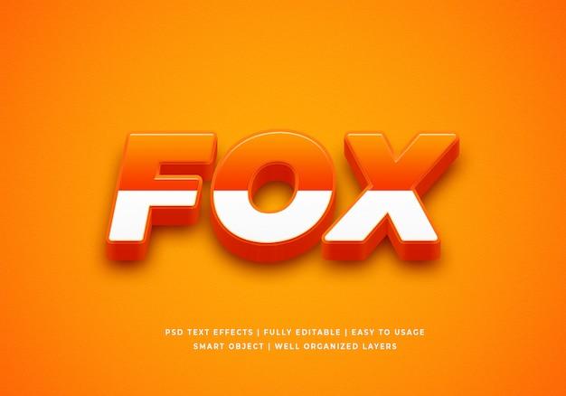 Maqueta de efecto de estilo de texto fox 3d