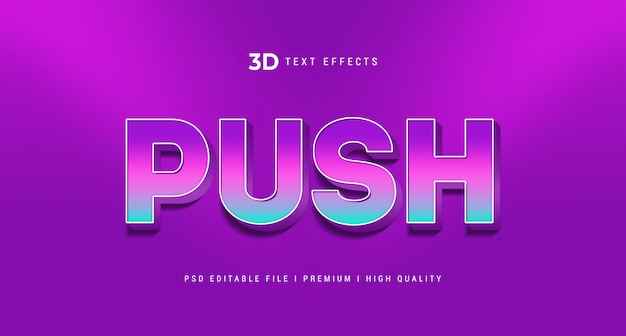 Maqueta de efecto de estilo de texto push 3d