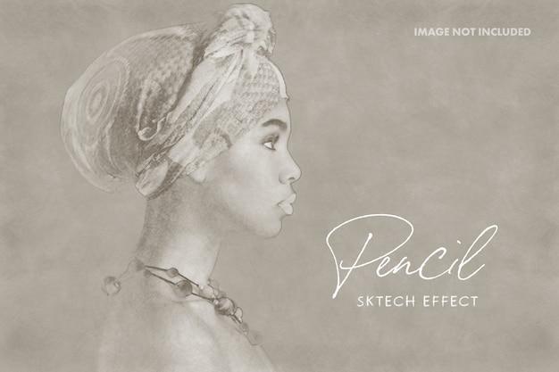 Maqueta de efecto de foto de dibujo a lápiz