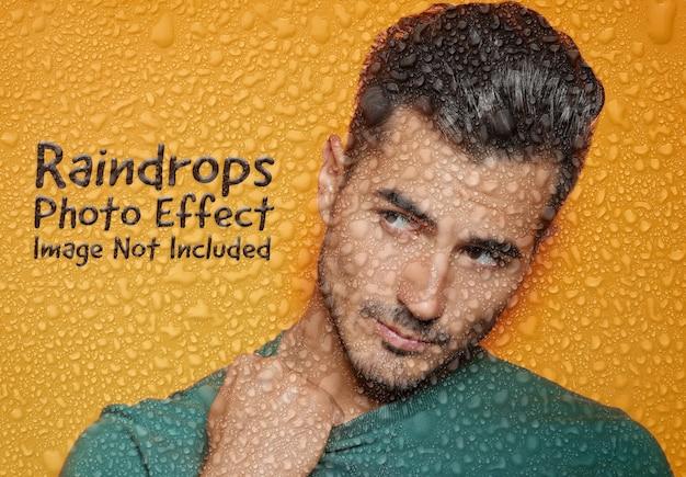 Maqueta de efecto fotográfico de gotas de lluvia