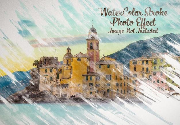 Maqueta de efecto fotográfico de pintura de acuarela