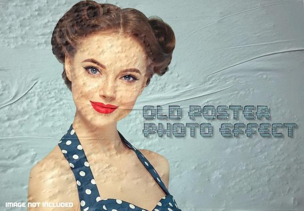 Maqueta de efecto fotográfico de póster antiguo