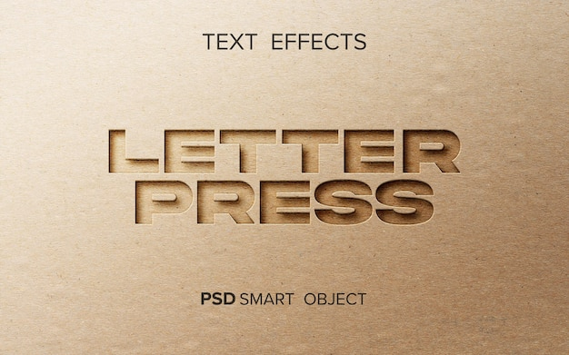 Maqueta de efecto de prensa de letras