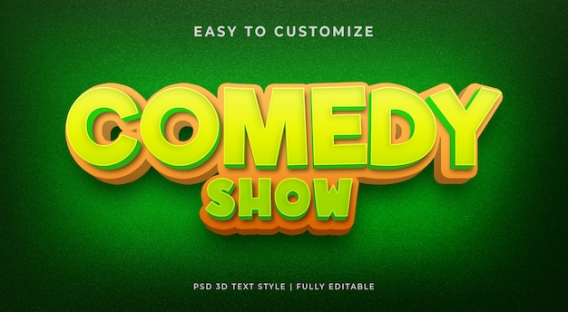Maqueta de efecto de texto en 3d de comedia