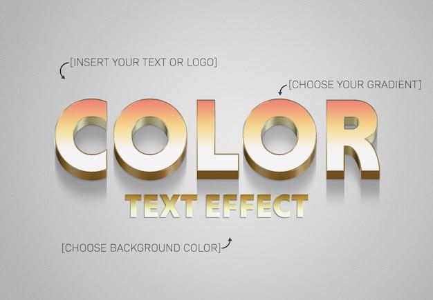 Maqueta de efecto de texto 3d degradado con trazo dorado
