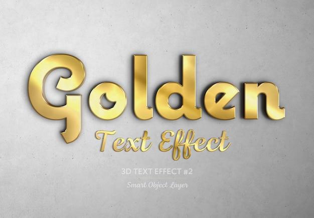 Maqueta de efecto de texto 3d dorado