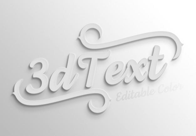 Maqueta de efecto de texto 3d en negrita blanca