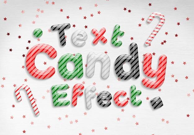 Maqueta de efecto de texto de bastón de caramelo