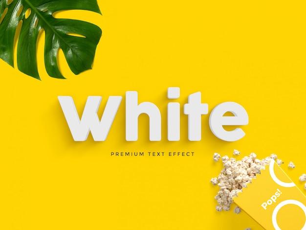 Maqueta de efecto de texto blanco 3d