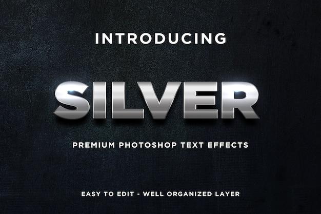Maqueta de efecto de texto brillante de plata 3d psd premium