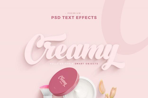 Maqueta de efecto de texto cremoso