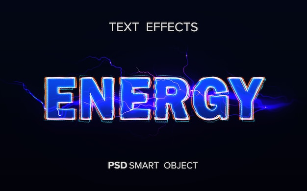 Maqueta de efecto de texto de energía