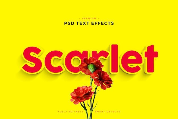 Maqueta de efecto de texto escarlata