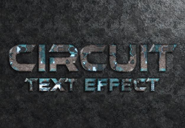Maqueta de efecto de texto de estilo de circuito azul