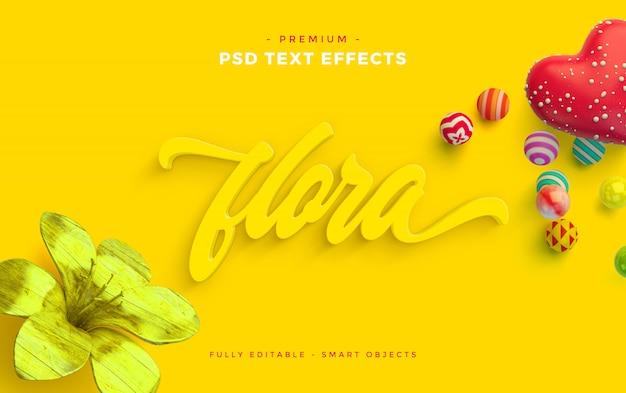 Maqueta de efecto de texto flora