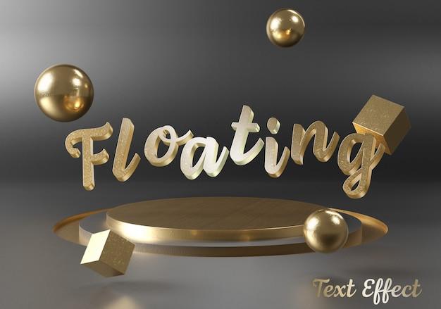 Maqueta de efecto de texto flotante en el podio del escenario.