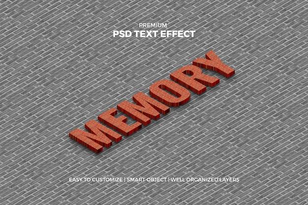 Maqueta de efecto de texto de ladrillo 3d isométrica