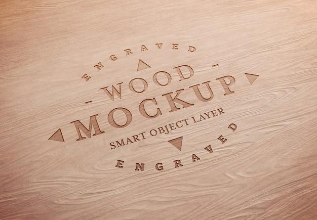 Maqueta de efecto de texto de madera grabada