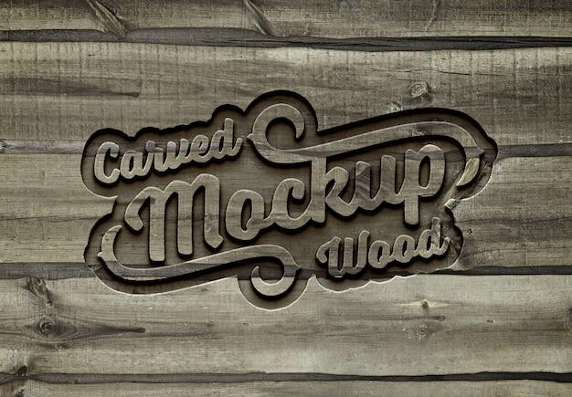 Maqueta de efecto de texto de madera tallada