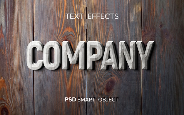 Maqueta de efecto de texto de madera