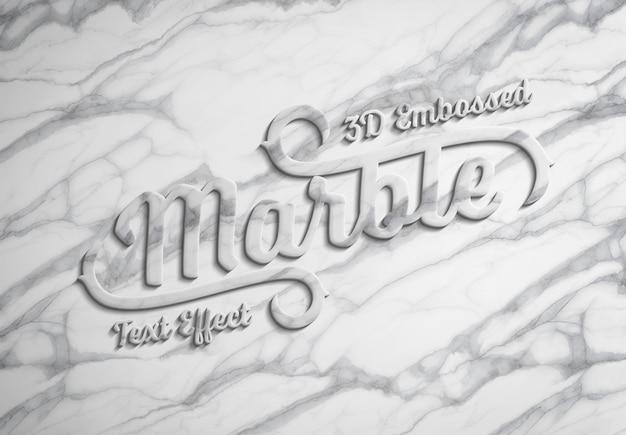 Maqueta de efecto de texto de mármol en relieve 3d