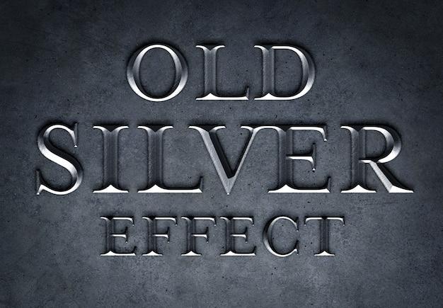 Maqueta de efecto de texto de plata vieja