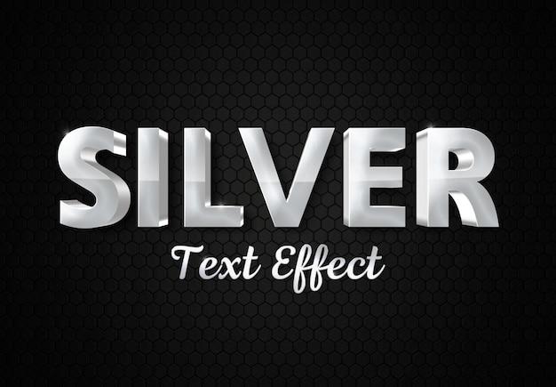 Maqueta de efecto de texto plateado brillante 3d
