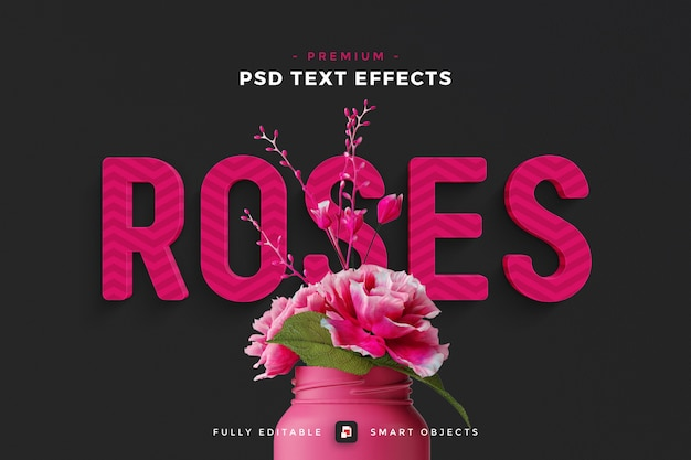 Maqueta de efecto de texto rosas