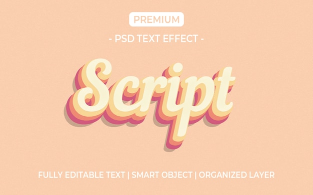 Maqueta de efecto de texto de script 3d