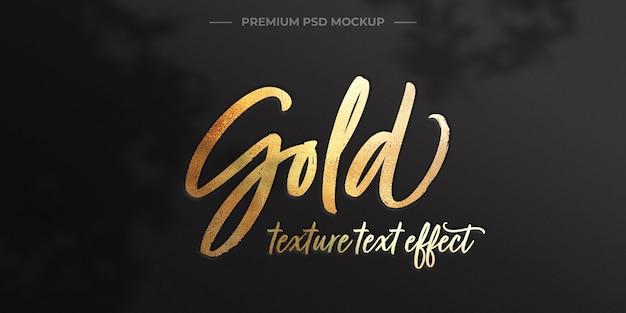 Maqueta de efecto de texto de textura dorada