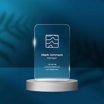 Maqueta de efecto transparente de tarjeta de visita o póster