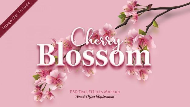 Maqueta de efectos de texto en 3d de cherry blossom