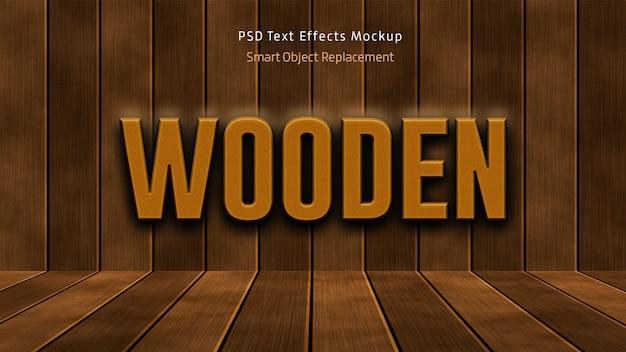 Maqueta de efectos de texto 3d de madera
