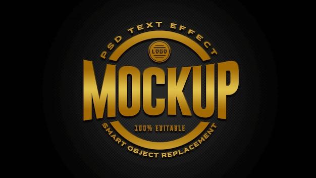 Maqueta de efectos de texto dorado y negro
