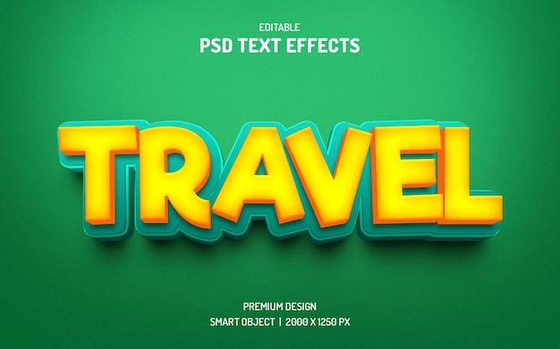 Maqueta de efectos de texto editable 3d de viaje