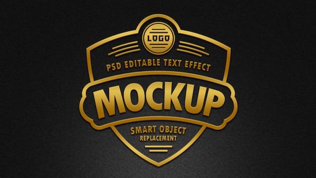 Maqueta de efectos de texto de insignia de oro 3d