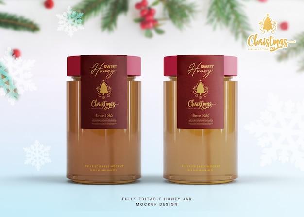 Maqueta elegante 3d para tarro de miel de vidrio de edición especial de navidad