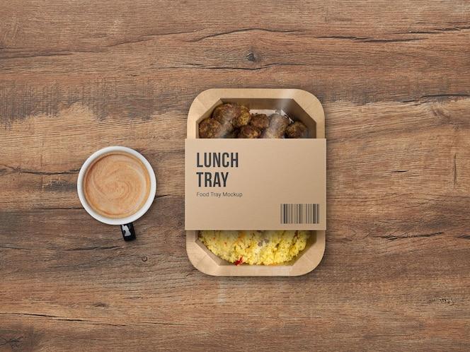 maqueta de embalaje de bandeja de comida para llevar de cartón