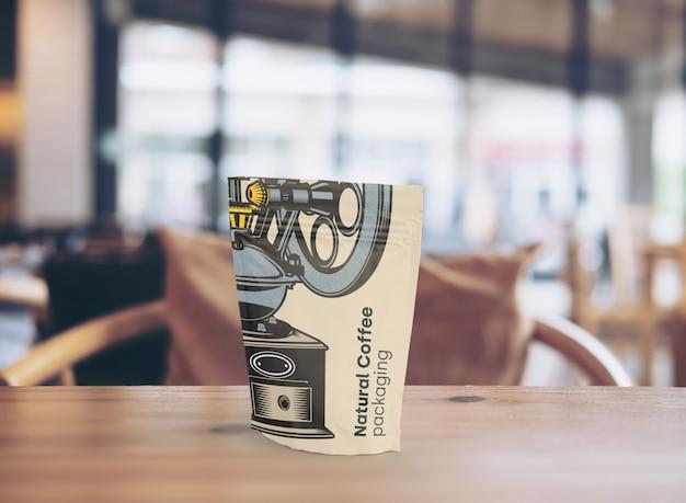 Maqueta de embalaje para cafetería