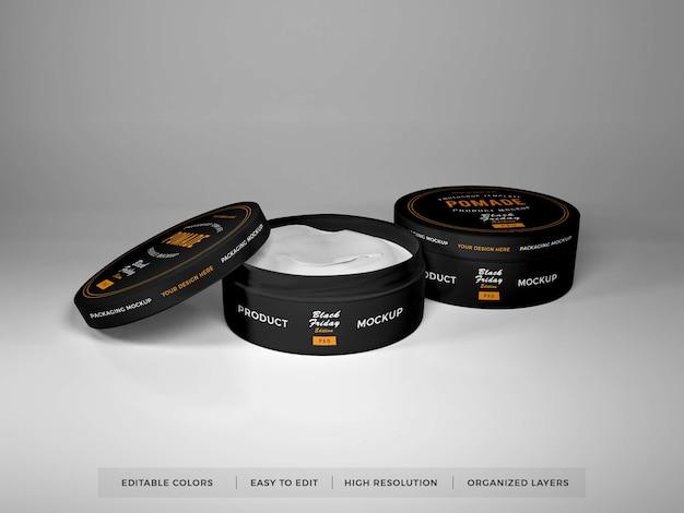 Maqueta de embalaje de caja redonda realista