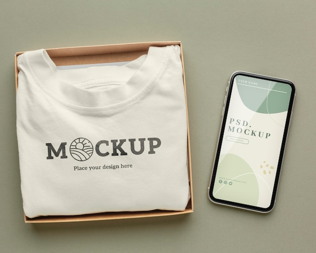 Maqueta de embalaje de camiseta ecológica