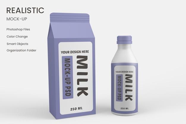 Maqueta de embalaje de cartón de leche grande psd gratis