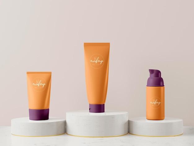 Maqueta de embalaje de producto cosmético