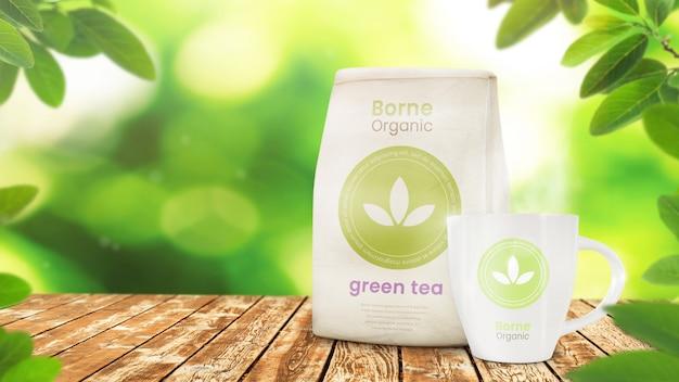 Maqueta de embalaje del producto y maqueta de taza en hojas orgánicas