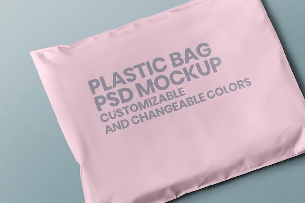 Maqueta de embalaje de sobre de plástico blanco